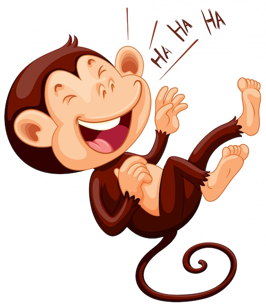 Little monkey laughing alone Free Vector