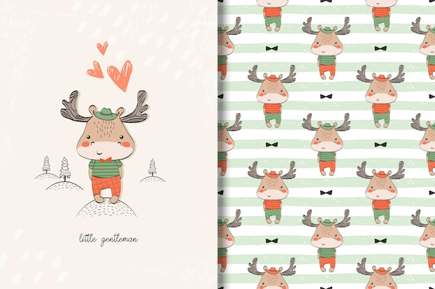 Little moose baby card and seamless pattern. kids illustration with cute background Premium Vector