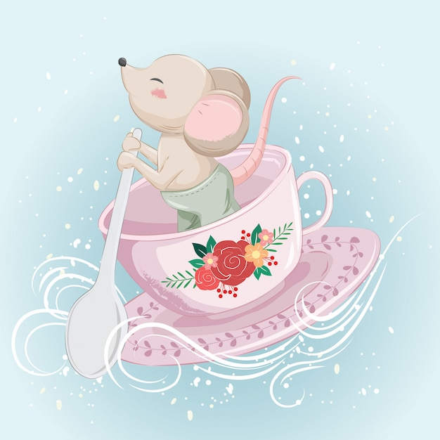Little mouse bowing on a tea cup Premium Vector