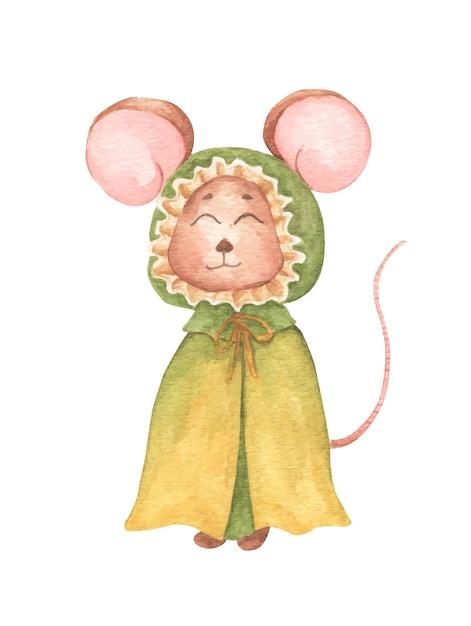 Мышонок в зеленом плаще с капюшоном. акварель рука рисовать иллюстрацию. Premium векторы