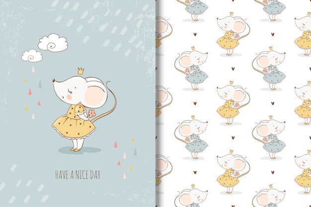 Little mouse princess card and seamless pattern Premium Vector