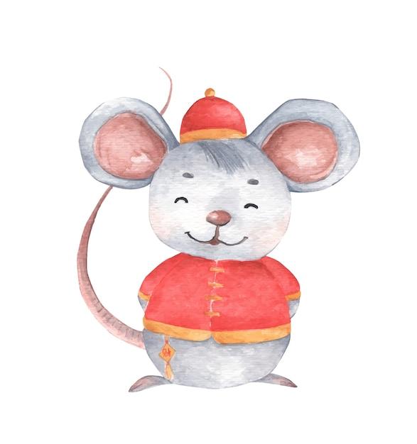 Маленькая мышь с традиционным китайским костюмом, символом зодиака нового года. акварельная иллюстрация. Premium векторы