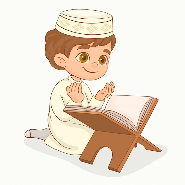 Little muslim boy praying Premium Vector