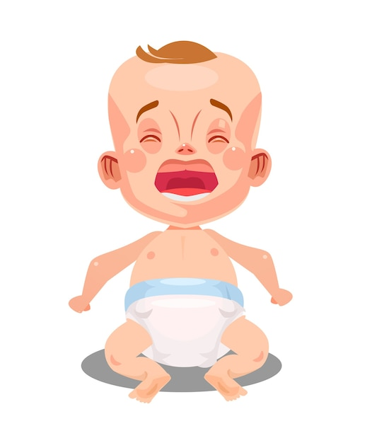 Little newborn baby child infant crying and screaming Premium Vector