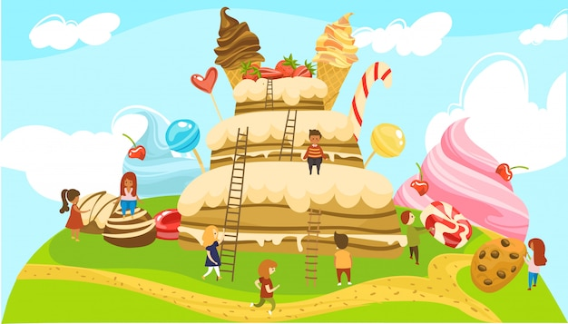 Little people in land of sweets fairytale world, boys and girls on ladders to huge cake with icecream cones  illustration. Premium Vector