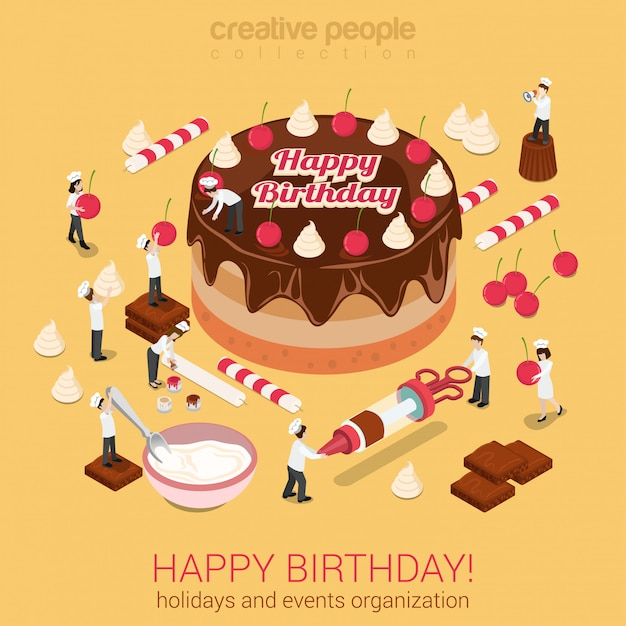 Little people make cake with inscription happy birthday isometric vector illustration. holidays events organization or confectioner business concept. Free Vector