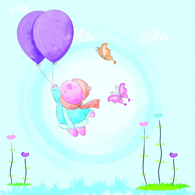Little pig flying with a balloon Premium Vector