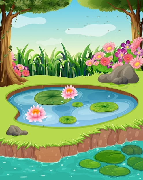 Little pond by the river in the forest Premium Vector