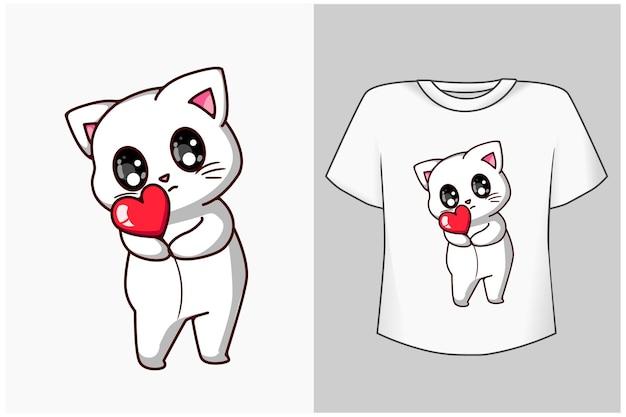 Маленькая красивая кошка с любовью иллюстрации шаржа Premium векторы