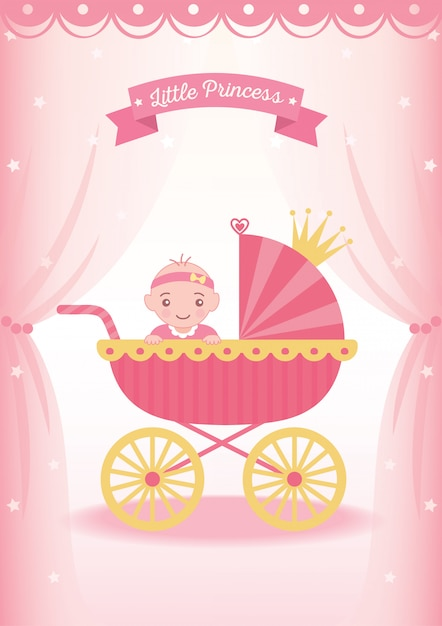 Little princess stroller Premium Vector