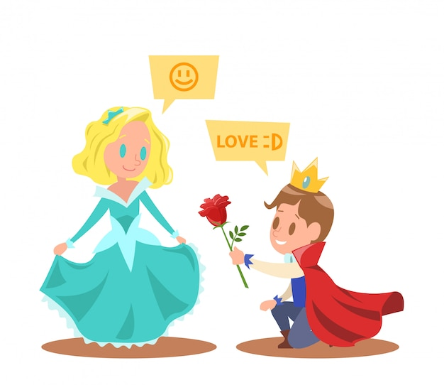 Little princesses and princes characters design Premium Vector