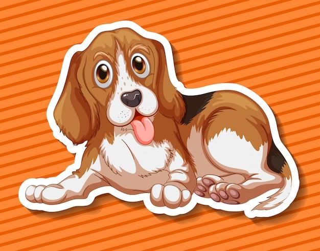 Маленький щенок сидит на оранжевом фоне Бесплатные векторы