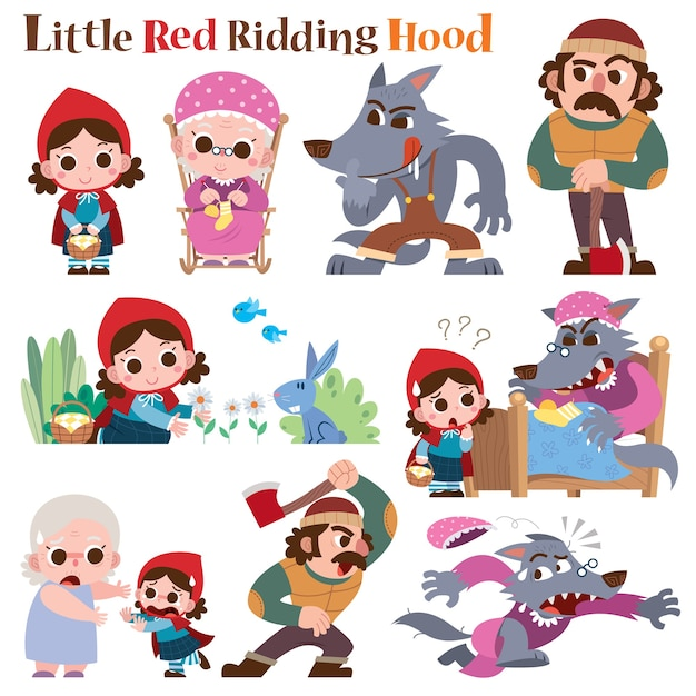 Little red riding hood fairy tale Premium Vector