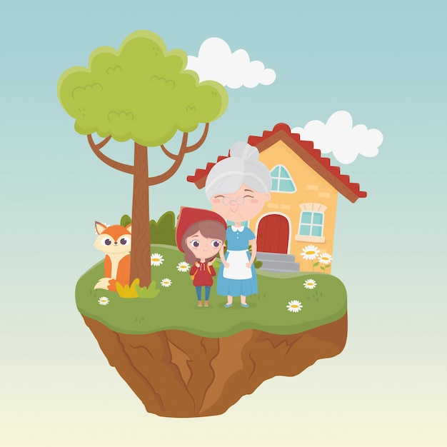 Little red riding hood granny wolf house tree flowers grass fairy tale cartoon illustration Premium Vector