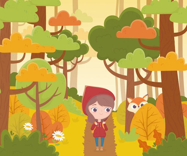 Little red riding hood walking in the forest and wolf watching fairy tale cartoon illustration Premium Vector