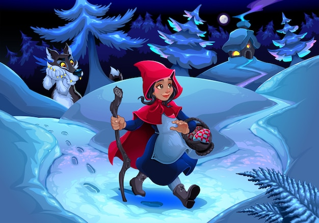Little red riding hood walking in the wood Free Vector
