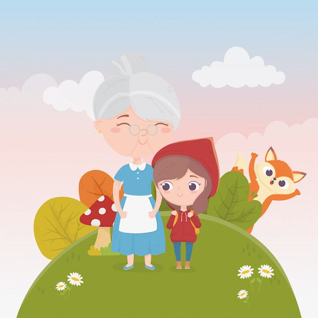 Little red riding hood with grandma and wolf nature plants fairy tale illustration Premium Vector