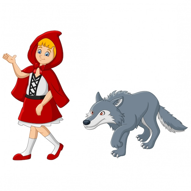Little red riding hood with wolf Premium Vector