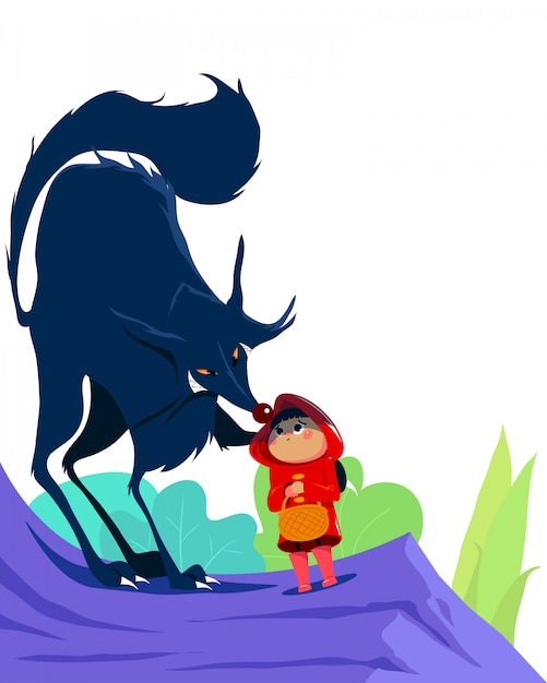 Little red riding hood and the wolf in the forest. white background isolated. for children books Premium Vector
