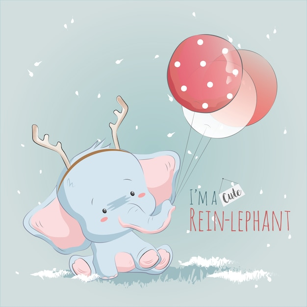 Little reinlephant playing with balloons Premium Vector