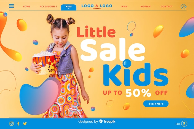 Little sale kids sale landing page with photo Free Vector