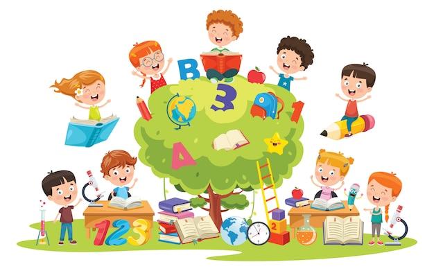 Little school children learning Premium Vector
