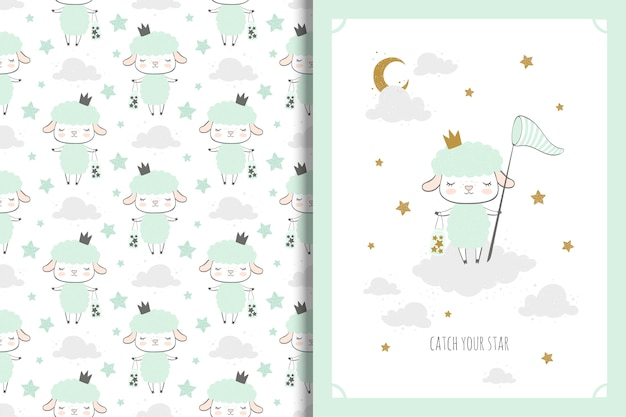 Little sheep card and seamless pattern for kids Premium Vector