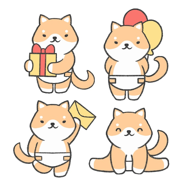 Little shiba inu hand drawn cartoon collection Premium Vector
