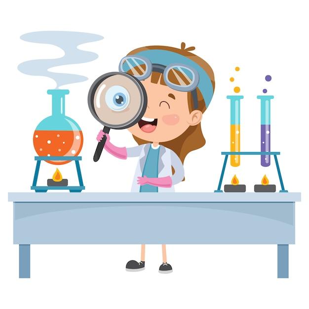 Little student doing chemical experiment Premium Vector