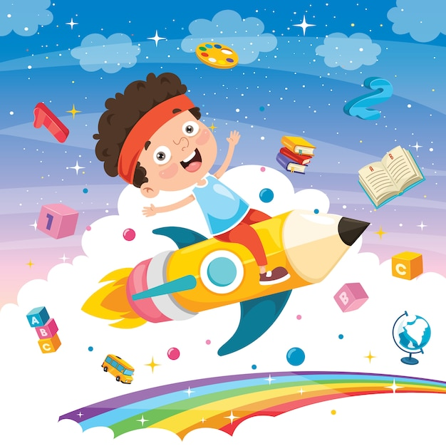 Little student flying with pencil Premium Vector