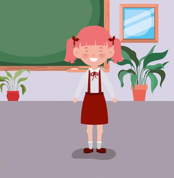 教室で小さな学生の女の子 無料ベクター