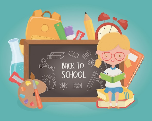 Little student girl with chalkboard and school supplies Free Vector