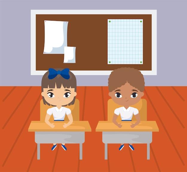 Little students in the classroom scene Premium Vector