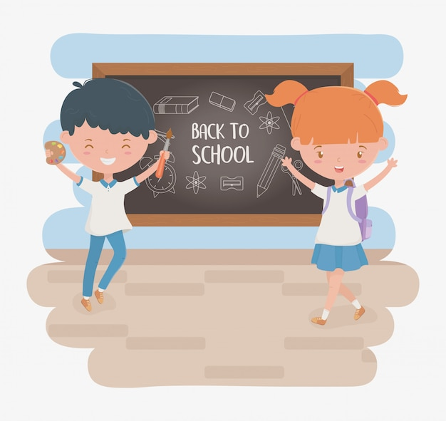 Little students couple with chalkboard and school supplies Free Vector