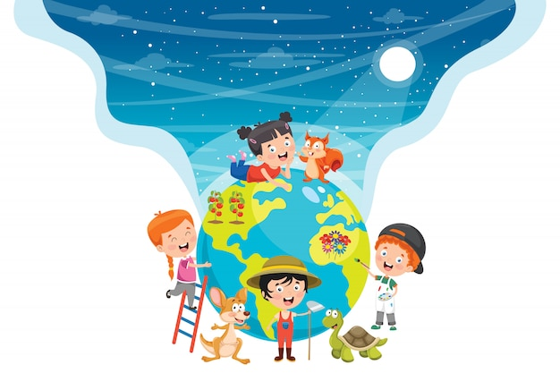 Little students studying geography Premium Vector