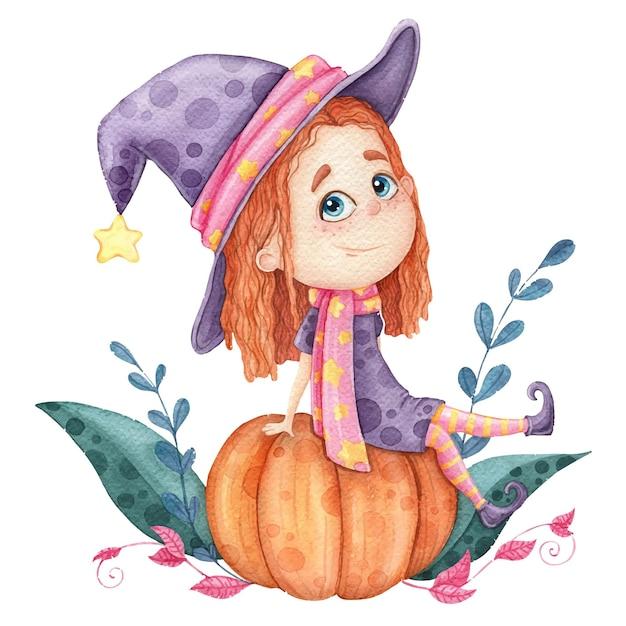 호박, 인쇄용 어린이 그림에 앉아 작은 달콤한 소녀 마녀 프리미엄 벡터