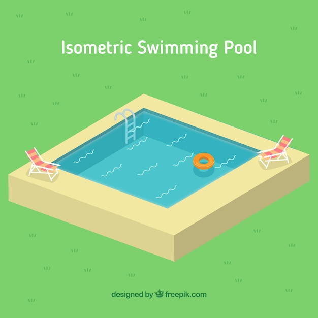 Little swimming pool in isometric style vector free download for Uses for old swimming pools