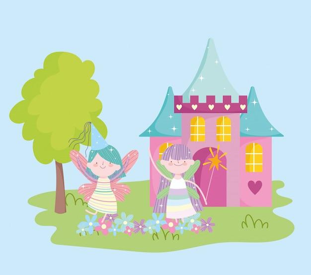 城の花物語漫画と小さな翼のある妖精プリンセス Premiumベクター
