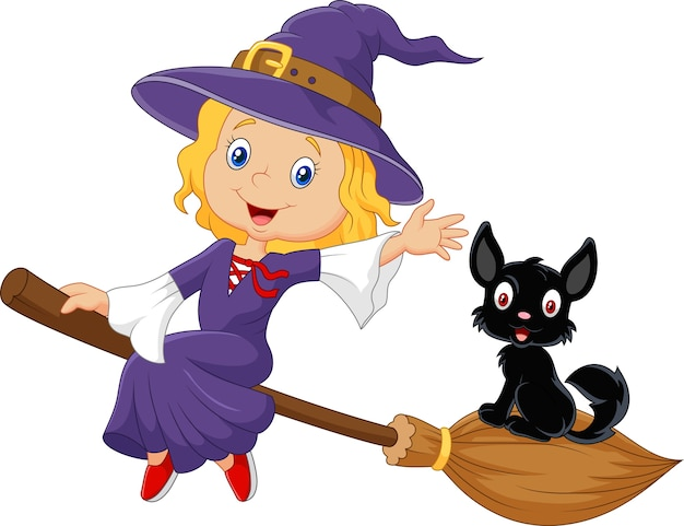 Little witch and a black cat in the flying broomstick Premium Vector