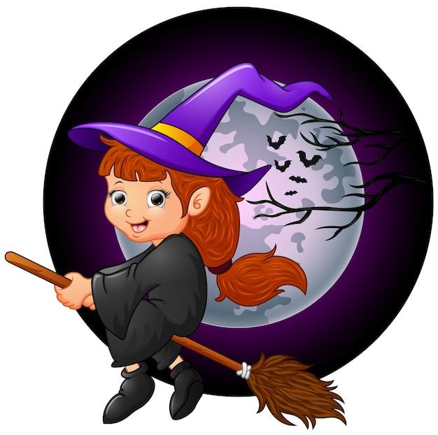 Little witch cartoon flying Premium Vector