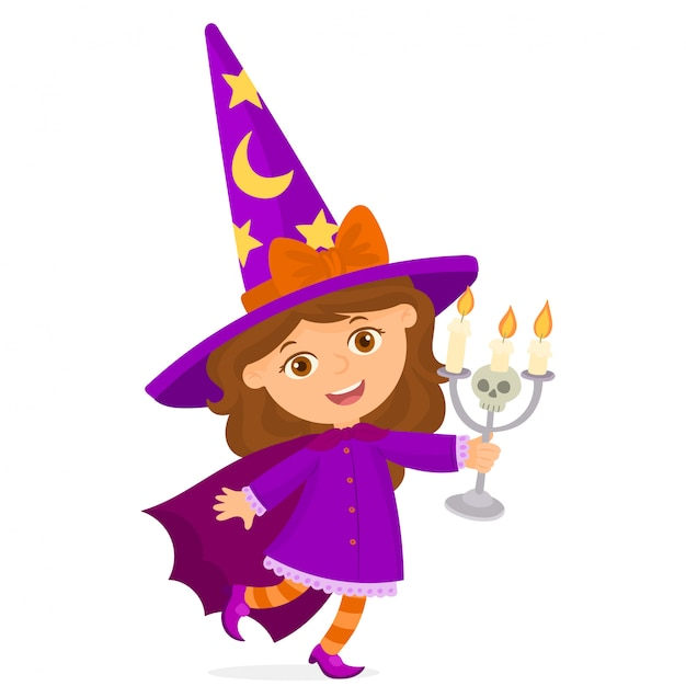 Little witch holds in her hands a candlestick with a skull Premium Vector