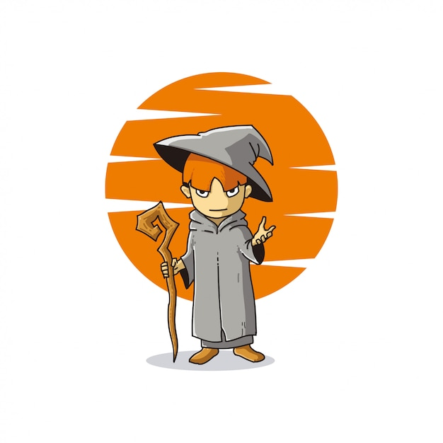 Little witch illustration Premium Vector