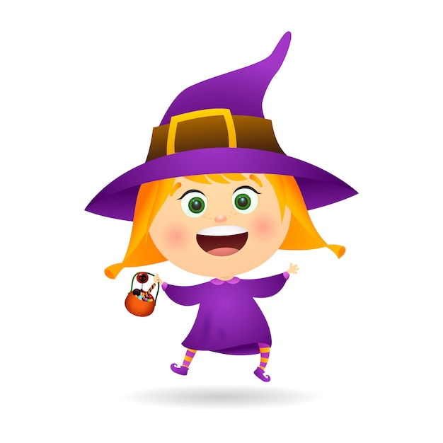 Little witch with bowl of candies Free Vector