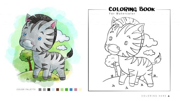 Little zebra in the jungle, cartoon illustration for watercolor coloring book Premium Vector