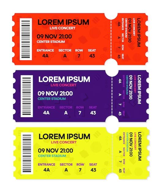 Live concert music or dance, tickets templates. Premium Vector
