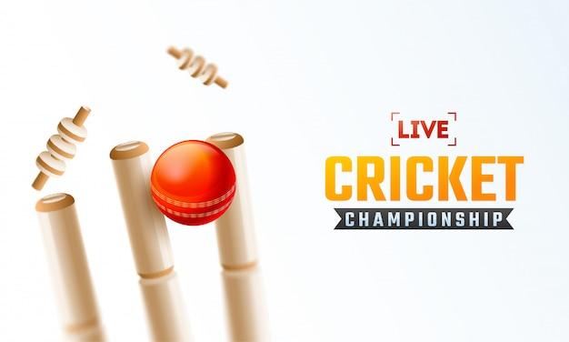 Live cricket championship poster design Premium Vector