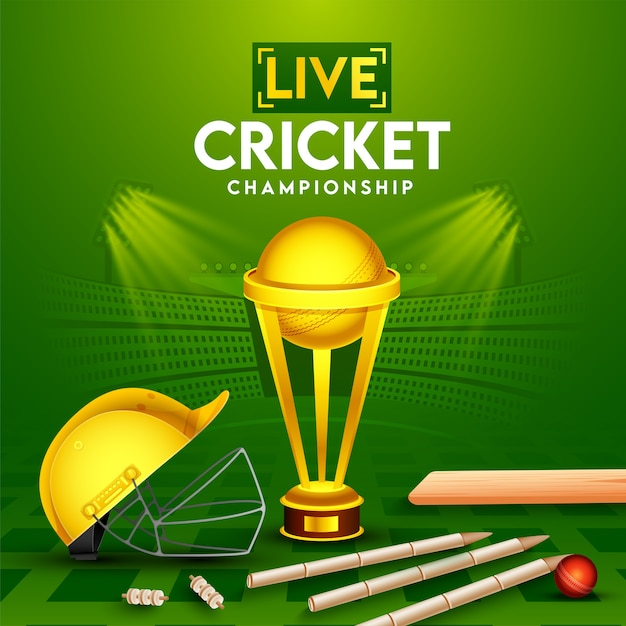 Live cricket championship poster  with realistic red ball, bat, wickets, helmet and golden trophy cup on green stadium view background. Premium Vector