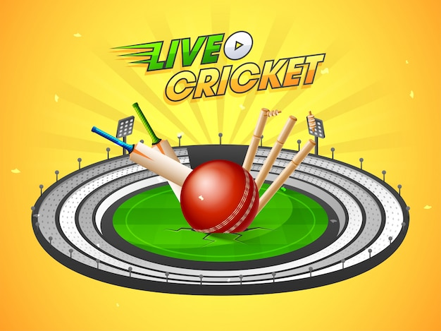 Live cricket match background Premium Vector