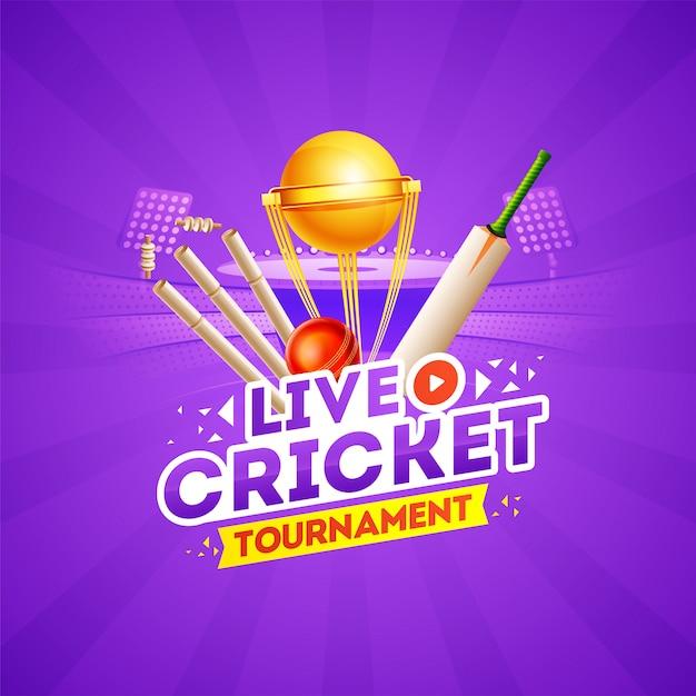 Live cricket tournament концепция с элементами крикет Premium векторы