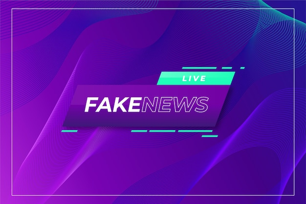 Live fake news on wavy gradient violet background Free Vector
